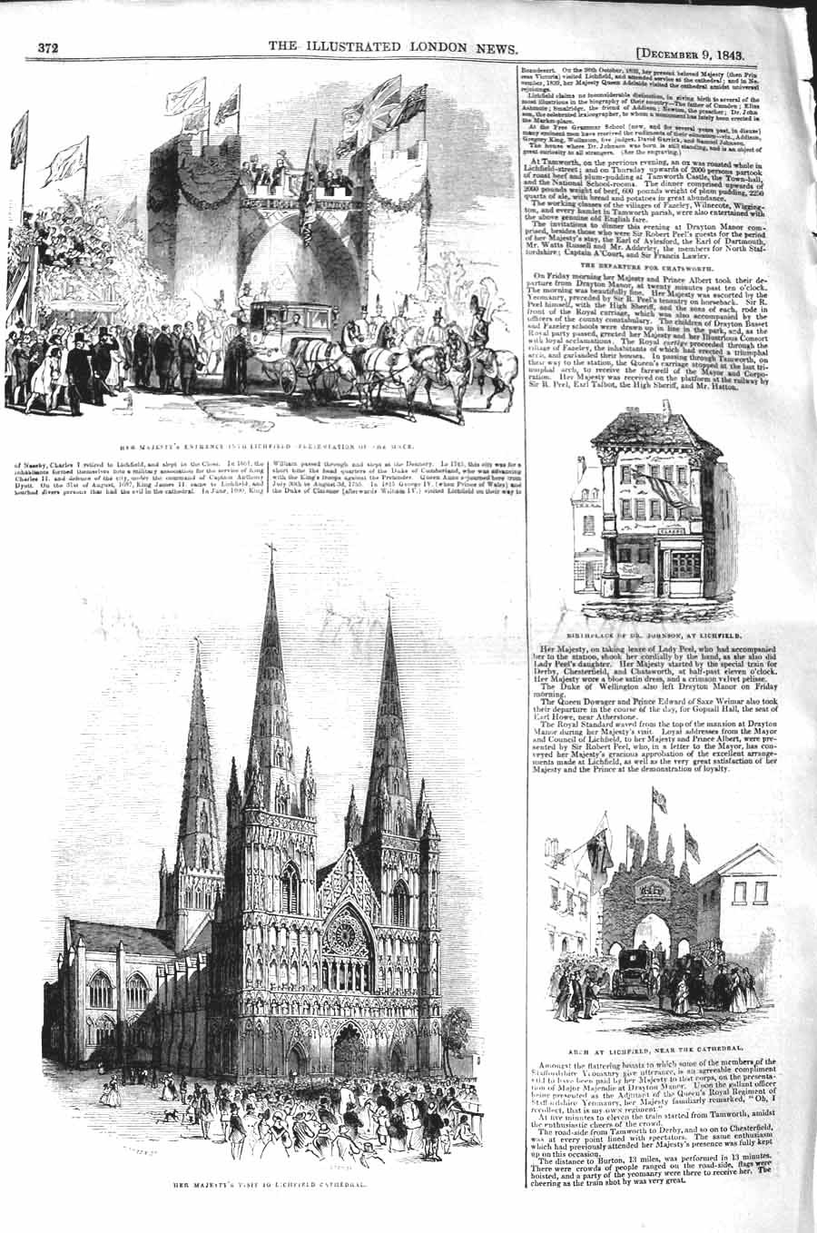 Original-Old-Antique-Print-1843-Queen-Lichfield-Cathedral-Birthplace-Johnson
