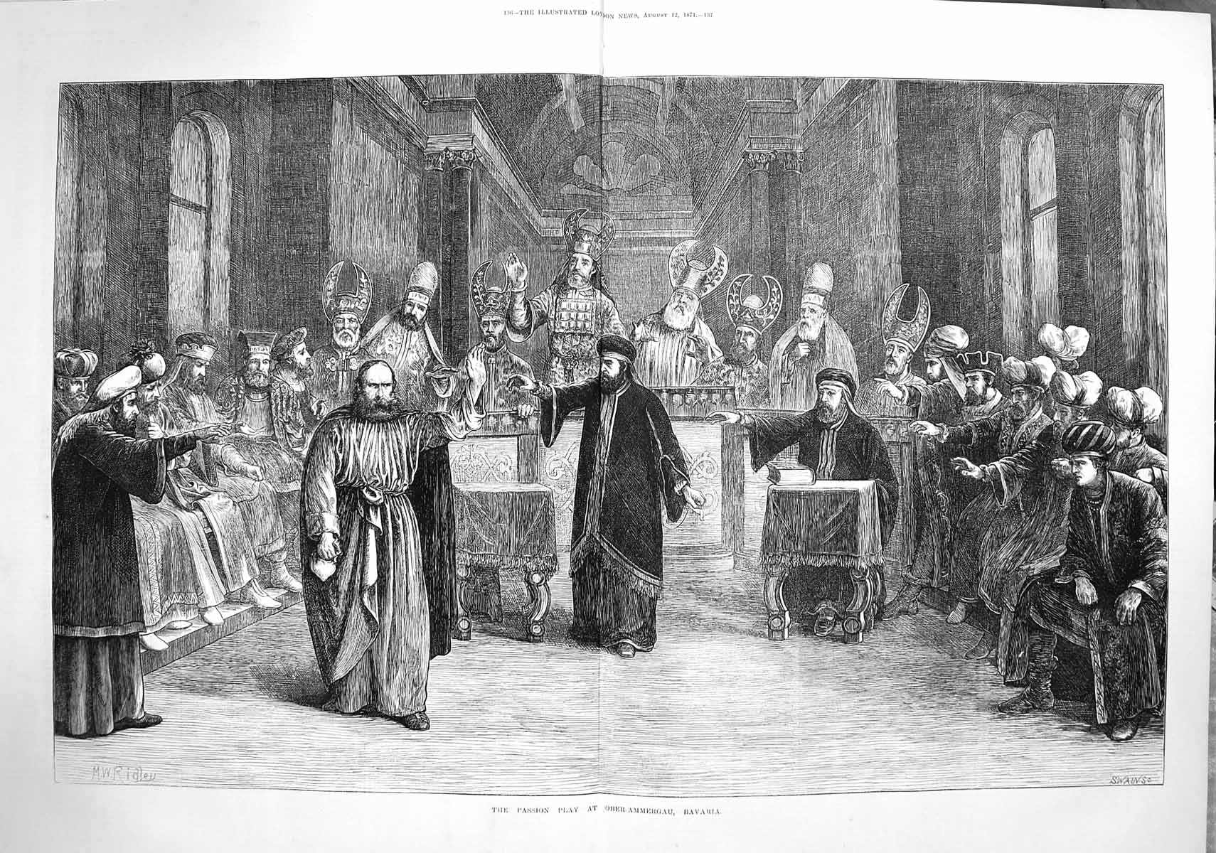 Old-Antique-Print-3646-1871-Passion-Play-Ober-Ammergau-Bavaria-Fine-Art