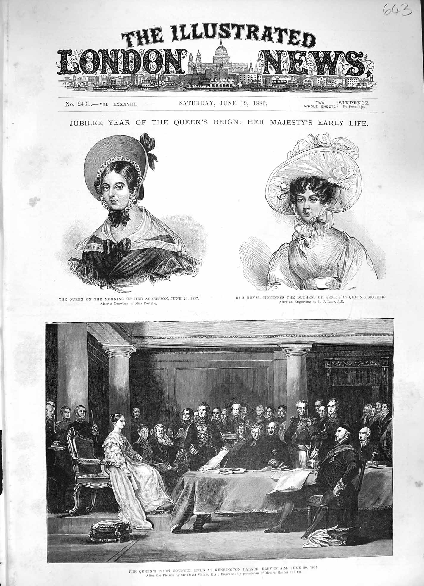 Old-Antique-Print-1886-Queen-Jubilee-Kensington-Woolbrook-James-039-S-Palace-19th
