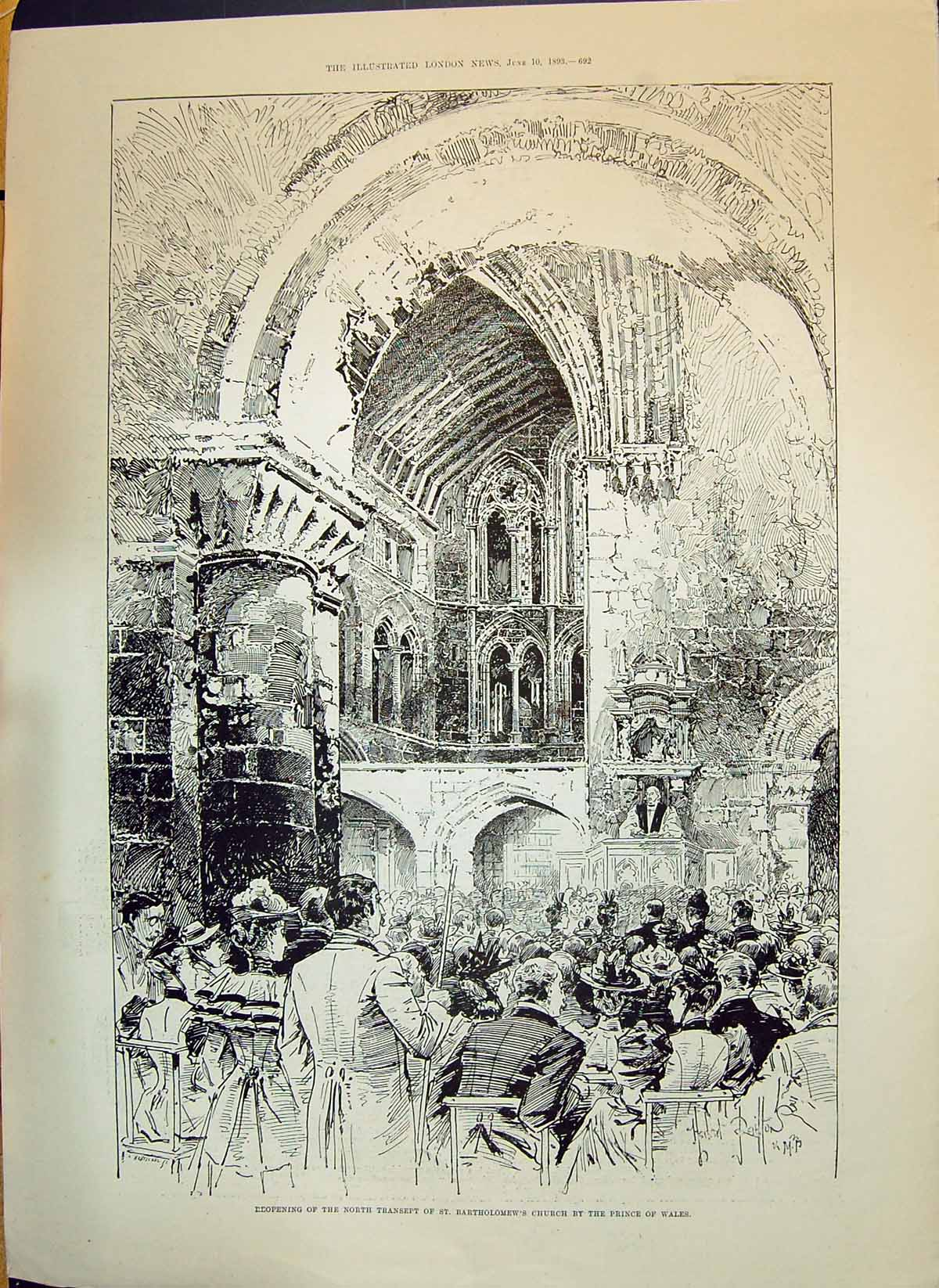 Old-1893-Transept-Bartholomews-Church-Prince-Wales-United-Service-Ins-Victorian