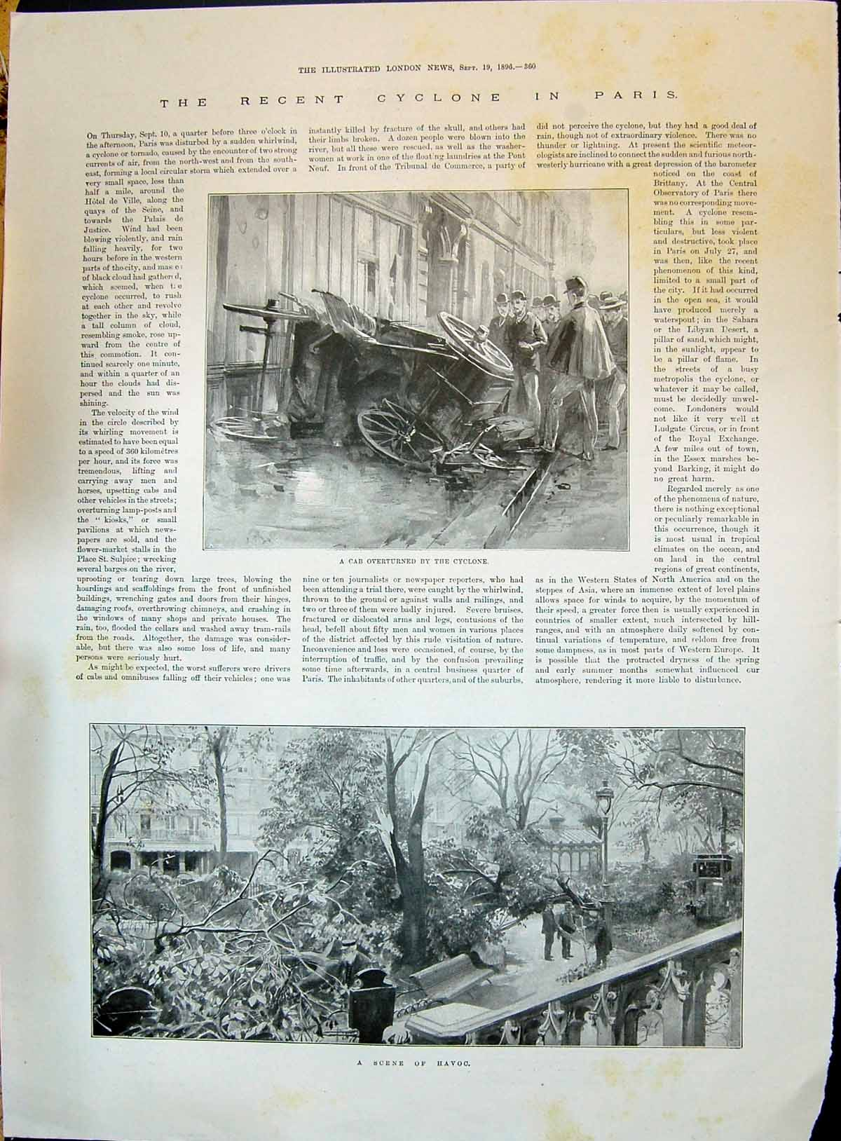 Old-Antique-Print-1896-Cyclone-Paris-France-Car-Overturned-Stormy-Weather-19th
