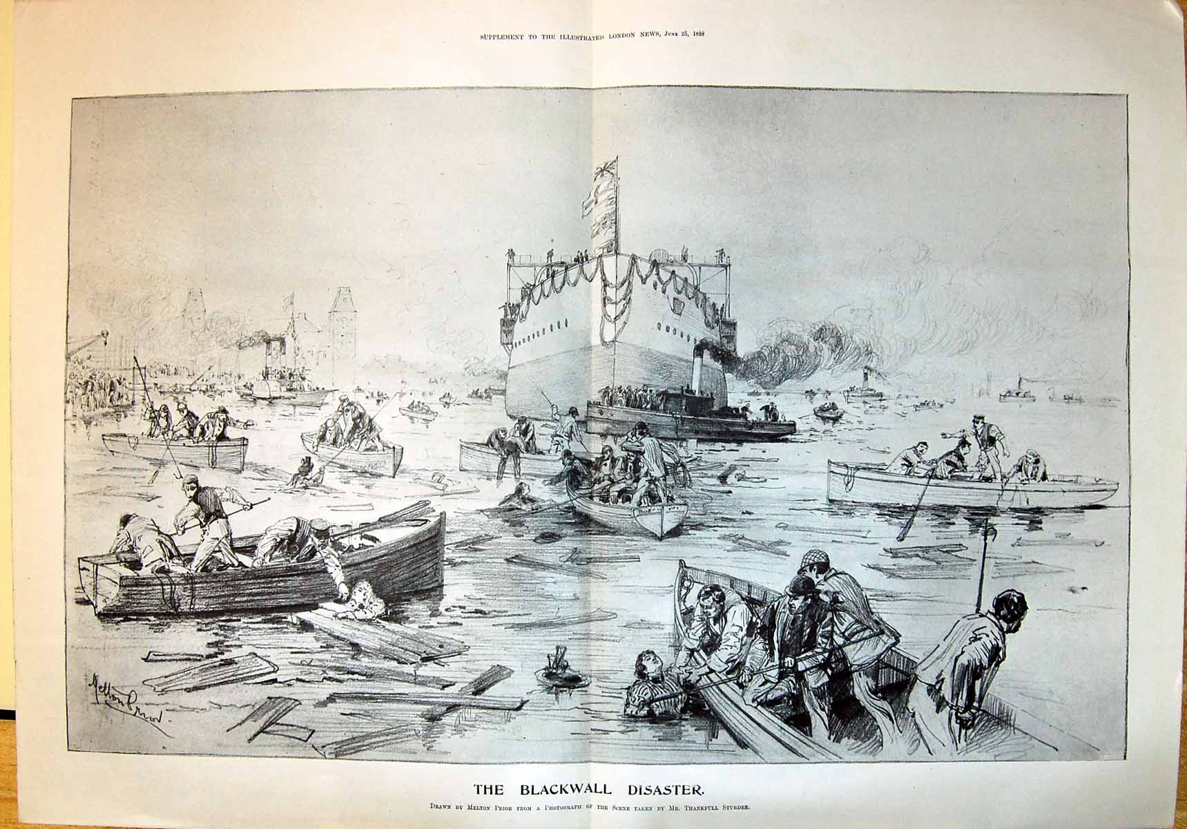 Antique-Print-1898-Blackwall-Disaster-Ship-Wreck-Rescue-Boats-Melton-Prior