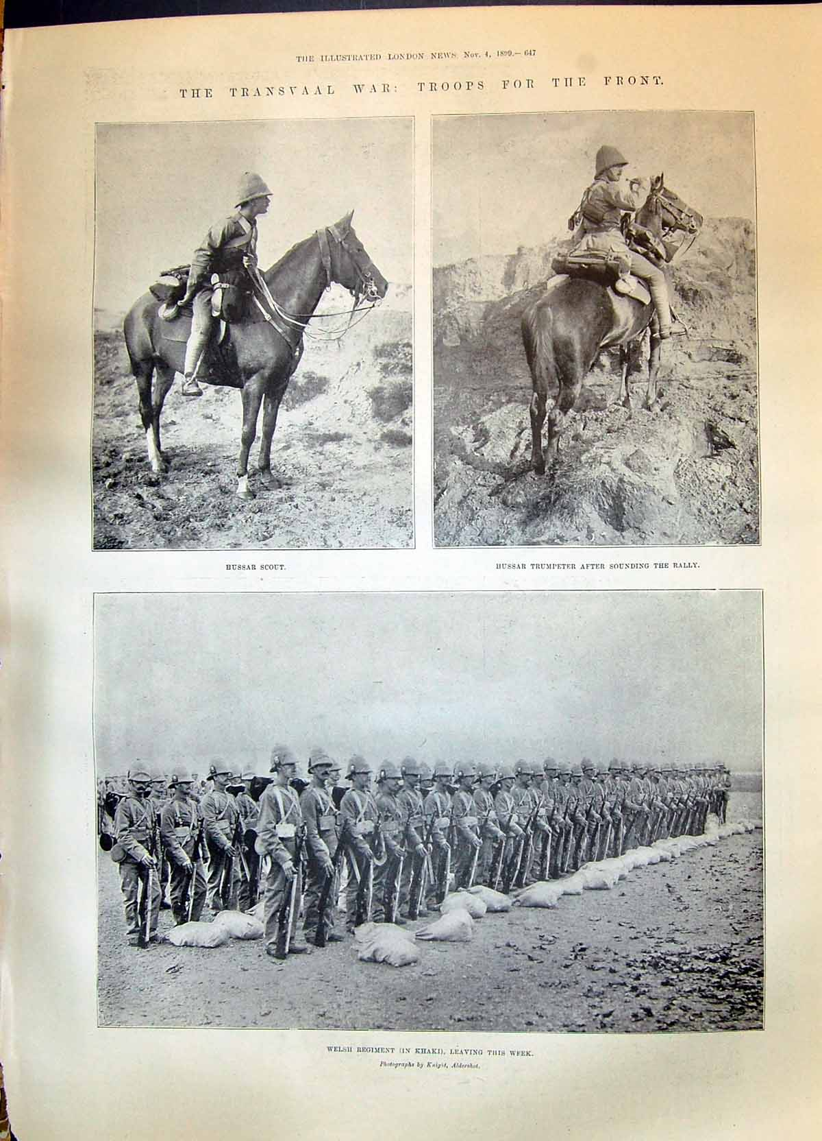 Old-Print-1899-Transvaal-War-Hussar-Scout-Welsh-Siers-Naval-Brigade-Blue-19th