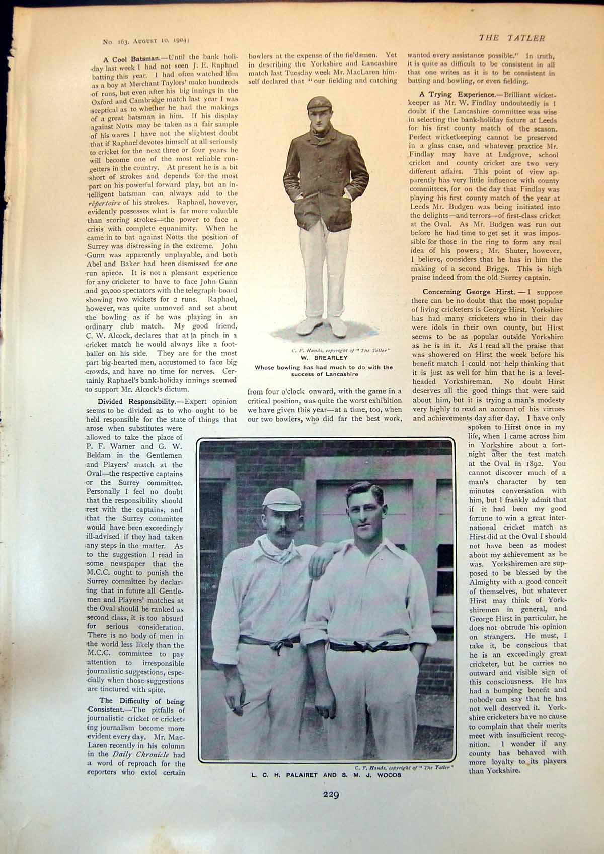 Old-W-Brearley-Bowler-Lancashire-L-Palairet-S-Woods-George-Sims-1904-20th