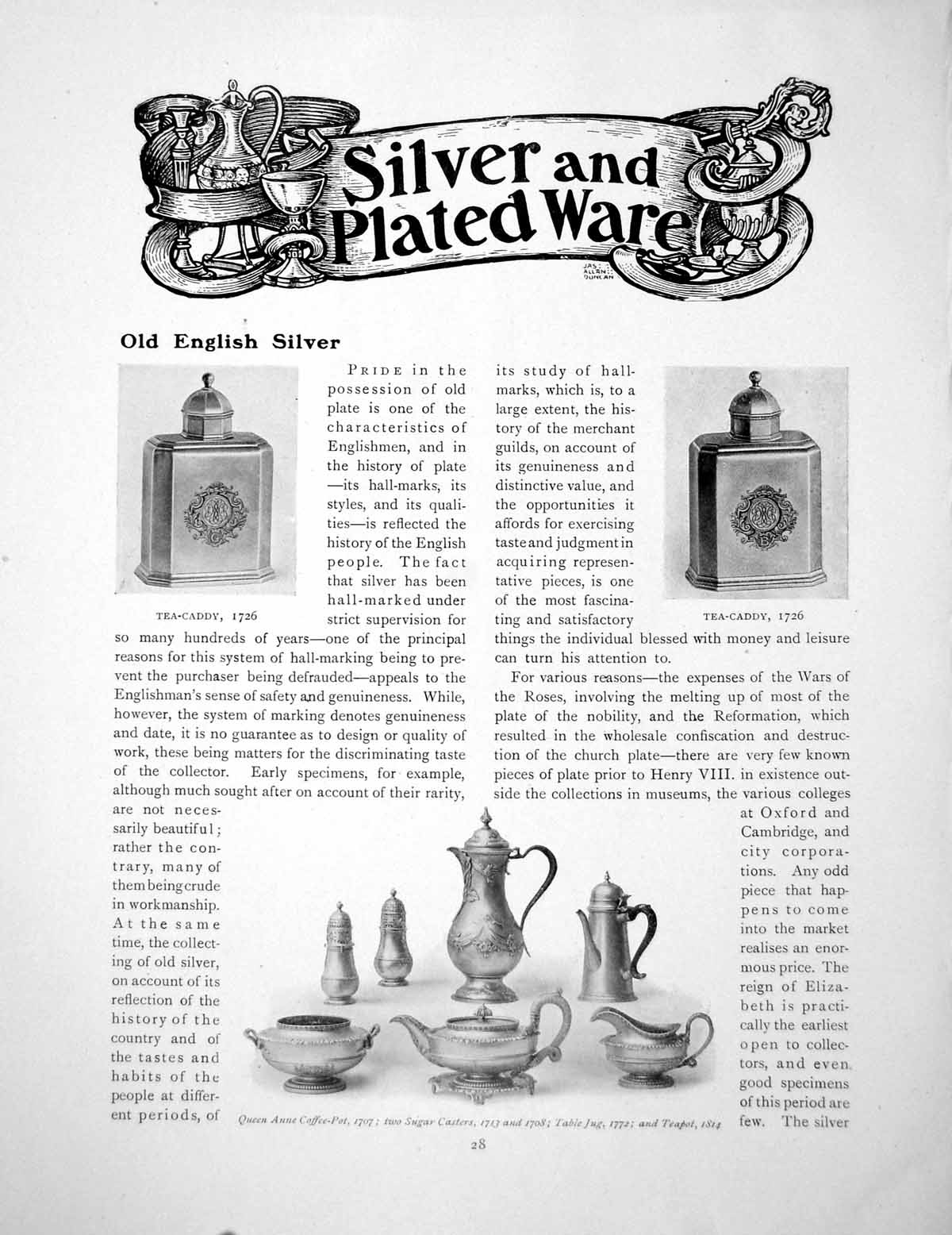 Antique-Old-Print-English-Silver-Tea-Caddy-Queen-Anne-Coffee-PotPages-1916
